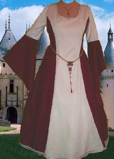 Medieval Gown Renaissance Costume LOTR SCA Garb Royal Blue White Early Med Period Heraldic Angel Wing 1 Piece Medm Wt Gown. $58.00, via Etsy.
