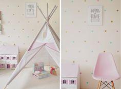 Skandynawski pokój dziewczynki, tipi, domek dla lalek