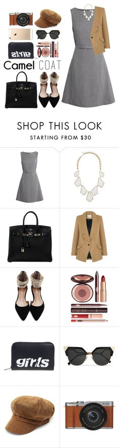 """Wear a Camel Coat!"" by zulfastley on Polyvore featuring H&M, Kendra Scott, Hermès, Parka London, Charlotte Tilbury, Alexander Wang, Fendi, Fujifilm and camelcoat"