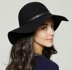 ca4350d67d8 British style floppy felt hat with belt decor black wide brim wool winter  hats for lady