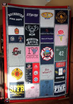 Memorial quilt made from t-shirts