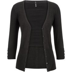 maurices The Classic Cardi With V-Neckline ($22) ❤ liked on Polyvore featuring tops, cardigans, jackets, outerwear, black, vneck cardigan, v neck 3/4 sleeve cardigan, deep v neck top, maurices and black top