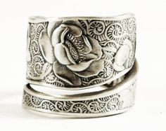 Victorian Rose Ring, Silver Rose, Sterling Silver Spoon Ring, Unique Gift for Her, Handmade Eco Friendly, Garden, Adjustable Ring Size, 3358
