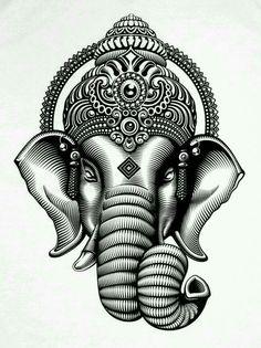 New Tattoo Elephant Ganesha Art 63 Ideas Ganesh Tattoo, Ganesha Art, Ganesha Painting, Lord Ganesha, Trendy Tattoos, Unique Tattoos, Small Tattoos, Tattoos For Guys, Head Tattoos