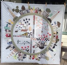 Round the garden Quilt. Pattern by Wendy Willams. This piece is originally for woll felt appliquè but