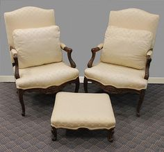 Pair of Louis XV Style Carved Arm Chairs