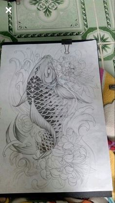 I really appreciate the designs, outlines, and depth. This is definitely an incredible idea if you want a Tattoo Pez, Carp Tattoo, Koi Fish Tattoo, Body Art Tattoos, Sleeve Tattoos, Koy Fish Drawing, Fish Drawings, Graffiti Tattoo, Koi Fish Designs