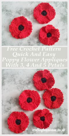 Simply Crochet Pattern: Quick And Easy One Piece Poppy Flower Appliques With 4 And 5 Petal. Simply Crochet Pattern: Quick And Easy One Piece Poppy Flower Appliques With 4 And 5 Petals, Crochet Poppy Free Pattern, Crochet Flower Tutorial, Easy Crochet Patterns, Crochet Flowers, Crochet Stars, Easy Crochet Flower, Knitted Poppies, Crochet Appliques, Crochet Leaves