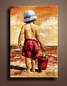 Little Boy Canvas Art Print of My Acrylic Painting Wall by itarts, $67.00