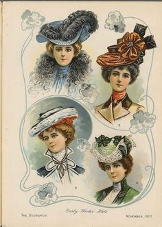 Vintage Hand Coloured Hats, c. 1898