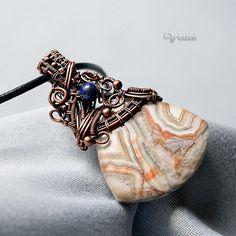 Copper wire jewelry laguna lace agate gemstone pendant