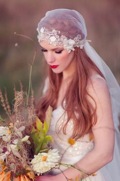Silk Juliet cap veil and seasonal wild florals | Love My Dress® UK Wedding Blog http://www.craigsandersphotography.co.uk