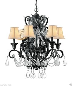 """Crystal Chandelier Black Rust Hand painted  Wrought Iron Lead 29"""" New Free ship"""