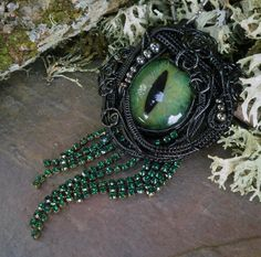 Gothic Steampunk Evil Green Black Cat Eye Pin Pendant. Made by my friend Jill, an amazing wire jewelry artist. Visit her shop Twisted Sister Arts on Etsy.