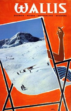 Valais ski region Switzerland, 1958 - poster by Jean Pierre Otth Retro Illustration, Illustrations, Lausanne, S Ki Photo, Ski Card, Evian Les Bains, Fürstentum Liechtenstein, Ski Wedding, Vintage Ski Posters