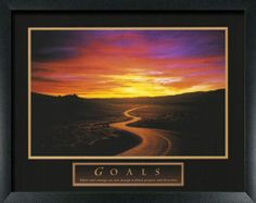 """GOALS - PATH. """"Effort and Courage are not enough without purpose and direction.""""  Size: 22 x 28 photo/print/poster.  Frame Molding Color / Material: Black, MDF (Composite)   Molding Dimensions: 1 inch wide by 0.75 inches tall.  This 22x28 motivational poster comes completely assembled and is ready to hang.  Included: Acrylic facing, Cardboard backing, Hanging hardware."""