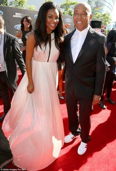 Mingling: Gabrielle Union happily posed with Russell Simmons at the star-studded event. Russell Simmons, Adrienne Bailon, Bet Awards, Gabrielle Union, Amber Rose, Paris Hilton, Beauty Pageant, Fashion Line, Red Carpet Fashion