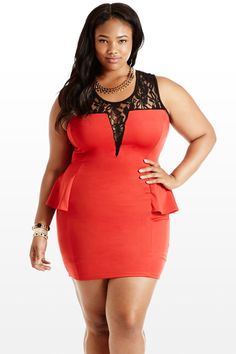Fire and Lace Peplum Dress @ Fashion to Figure Plus Size Peplum, Plus Size Dresses, Sexy Dresses, Plus Size Outfits, Chubby Fashion, Curvy Women Fashion, Plus Size Fashion, Lace Peplum Dress, Fashion To Figure