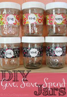Simple DIY Give, Save, Spend Jars for Kids @ AllOurDays.com