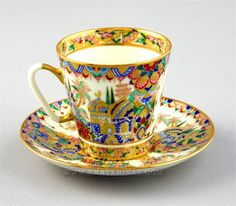"Lomonosov ""Eastern Gifts"" Cup & Saucer, hand painted, 22K gilt, designed by A. Vorobyevsky"
