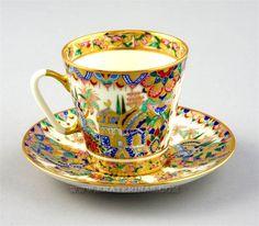 "Lomonosov ""Eastern Gifts"" Cup & Saucer, hand painted, 22K gilt, designed by A. Vorobyevsky"