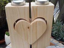 Teelichthalter mit Holzherz Kerzenhalter Geschenk