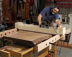 Level Big Slabs in No Time Flat NBC sitcom star cooks up router jigs and Nakashima-style furniture in his L. Woodworking Articles, Essential Woodworking Tools, Router Woodworking, Woodworking Workshop, Woodworking Techniques, Fine Woodworking, Woodworking Projects, Nick Offerman Woodworking, Woodworking Supplies