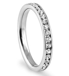 316L Stainless Steel Cubic Zirconia CZ Eternity Wedding 3MM Band Ring Comes with FREE Gift Box (bestseller)