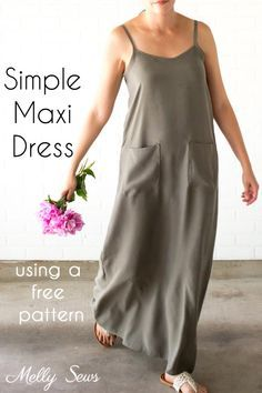 Sewing Patterns Free Sewing tutorial: Summer maxi dress - Melissa from Blank Slate Patterns and Melly Sews shows how you can sew a simple maxi dress you can wear all summer long. She includes links to a couple of free patterns you can use. Dress Sewing Tutorials, Dress Sewing Patterns, Sewing Patterns Free, Free Sewing, Sewing Hacks, Sewing Tips, Skirt Patterns, Pattern Sewing, Summer Dress Patterns