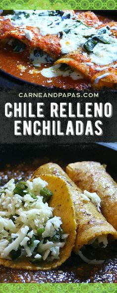 Chile Relleño Enchiladas - Carne and Papas Mexican Cooking, Mexican Food Recipes, Vegetarian Recipes, Cooking Recipes, Healthy Recipes, Ethnic Recipes, Mexican Desserts, Filipino Desserts, French Desserts