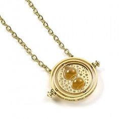 FREE SHIPPING - HARRY POTTER - Hermione Granger Spinning Time Turner Necklace from Carat Shop Harry Potter Shop, Harry Potter Hermione Granger, Harry Potter Jewelry, Baguette, Gold Plated Necklace, Gold Necklace, Puzzles 3d, Time Turner, Bros