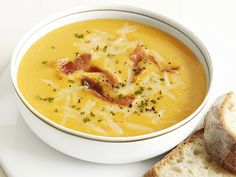 Apple-Cheddar-Squash Soup Recipe : Food Network  I think some recipe reviews are hilarious when the cook substituted something different for more than 75% of the ingredients :-)