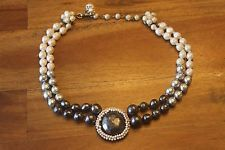Vintage Miriam Haskell Double Strand Pearl Necklace Silver Baroque Cream Gray