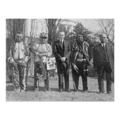 U.S. President Calvin Coolidge with four indians Poster - retro posters classy cool vintage