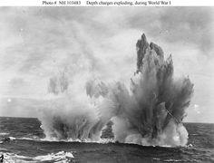 Depth charges detonate, First World War