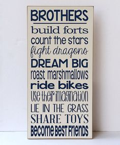 Loving this Cream & Navy 'Brothers Build Forts' Wall Sign on #zulily! #zulilyfinds