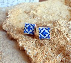 Portugal Blue Antique Azulejo Tile Replica Post Stud by Atrio