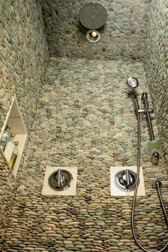 Bath Room Shower Decor River Rocks 16 New Ideas River Rock Shower, Stone Bathroom, Stone Shower, Rock Tile, Shower Tile Designs, Dream Shower, Room Paint Colors, Finding A House, Bath Design