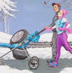 #CharlesPyle #illustration for #GeneralTire anniversary calendars. #parents #winter #snow #lindgrensmith