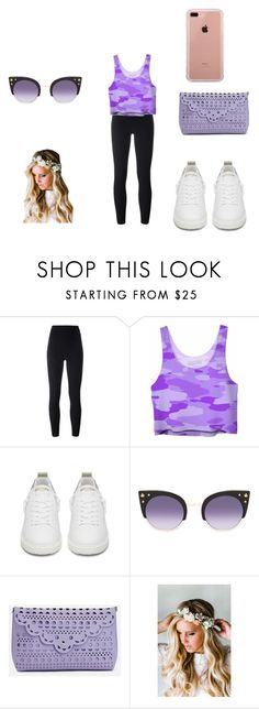 """The Purple Day"" by miss-mississippi2017 on Polyvore featuring adidas Originals, Golden Goose, Balmain, JustFab, Emily Rose Flower Crowns and Belkin"