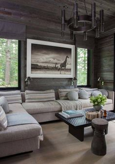 This house was featured in House Beautiful - purchased this magazine and it is truly well done design.Interior designer Anne Hepfer's modern rustic summer lake house in Muskoka. Decor Home Living Room, Home Decor, Living Rooms, Modern Lake House, Lake Cottage, Lakeside Cottage, Family Room Design, Modern Rustic, Beautiful Homes