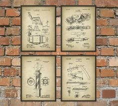 Barber Patent Print Set Of 4 Hair Clipper by QuantumPrints
