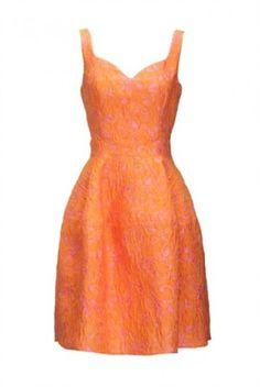 f9f26dfcbf4cf Vestito broccato arancio - Abito corto arancio della collezione Pinko  primavera estate 2016