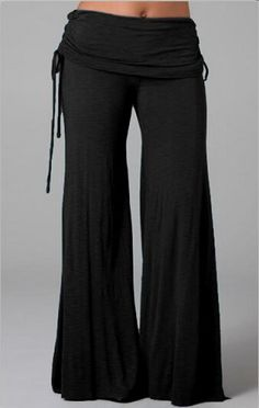Chic Elastic Waist Solid Color Pants For Women Pants | RoseGal.com