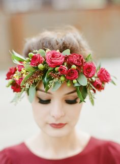Beautiful red flower crown: http://www.stylemepretty.com/north-carolina-weddings/wilmington-nc/2015/04/23/stylish-wilmington-nc-wedding-at-the-brooklyn-arts-center/   Photography: Blueberry Creative - http://www.blueberrycreative.com/