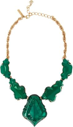 Oscar de la Renta Gold Plated Cabochon Necklace