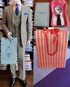 Henry Jermyn shirt box, branded luxury carrier bag and unbranded luxury carrier bag