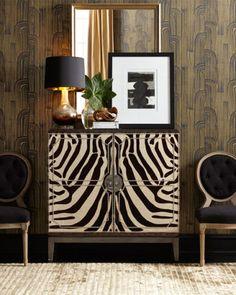 Black, white, gold, Art Deco-ish wall patern, animal print - contemporary update of the style Home Interior, Interior Decorating, Classic Interior, Interior Designing, Luxury Interior, Painted Furniture, Furniture Design, Modern Furniture, Bespoke Furniture