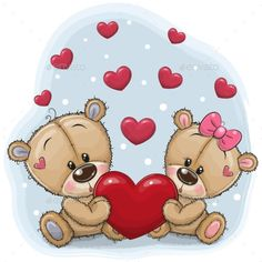 Illustration about Cute Teddy Bears with heart on a blue background. Illustration of adorable, letter, illustrations - 132994082 Teddy Bear With Heart, Knitted Teddy Bear, Cute Teddy Bears, Teddy Bear Clothes, Tatty Teddy, Cute Cartoon Animals, Bear Cartoon, Decoration St Valentin, Belly Painting
