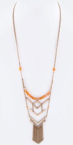 Beads and Fringe Necklace